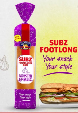 Harvest Subz Footlong Bun Roasted Garlic 1pc